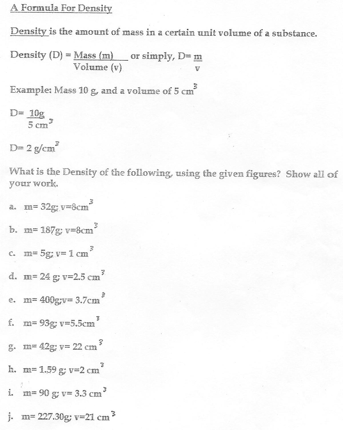 worksheet Density Activity Worksheet fantastic fluids a formula for density activity page jpg