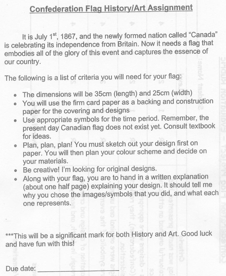 Grade 9 Map Of Canada Assignment.Unit 1 Canadian Confederation